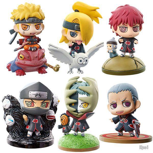 6cm Naruto Akatsuki Uzumaki Naruto Deidara Kakuzu Sasori Zetsu figuras de acción de juguete colección de Navidad muñeca de juguete de regalo para niños