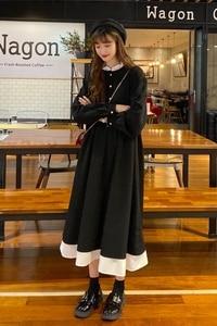 Black Goth Dresses Long Sleeve Women Streetwear Clothing Princess Victorian Dress Medieval Korean Student Preppy Clothes Party