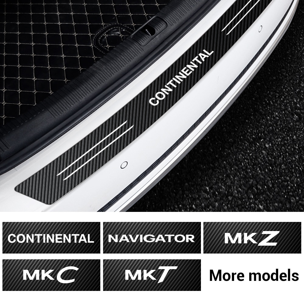 1 Uds. Pegatina de fibra de carbono para Protector de Parachoques Trasero de maletero de coche para navegador Lincoln Continental MKZ MKC MKT accesorio de diseño
