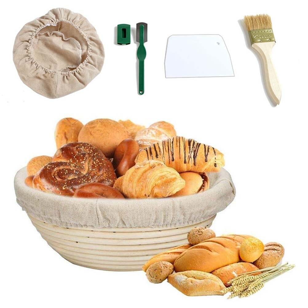 1/2Sets pan prueba cesta de mimbre fermentado cesta de pan Baguette de prueba cesta Kit