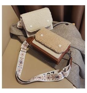 Lamb wool Shoulder Bag 2021 Winter New Crossbody Bag Fashion Wild Small Square Bag Plush Female mobile phone Bag Wallet  Bolsa