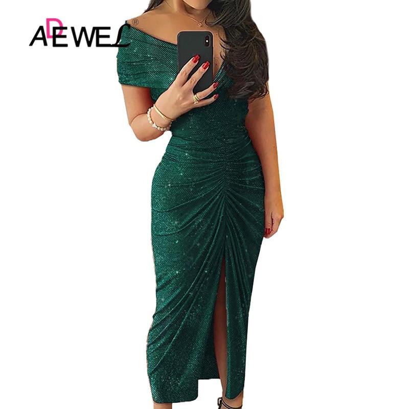 ADEWEL vert robe moulante paillettes épaules dénudées froncé fente robe de soirée haute fente manches courtes Maxi longue soirée Sequin robes