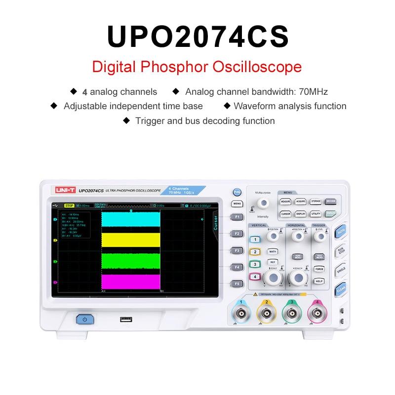 UNI-T UPO2074CS 8 pulgadas Digital osciloscopio TFT LCD USB interfaz LAN Ultra osciloscopio de fósforo, 4 canales, 70 MHz