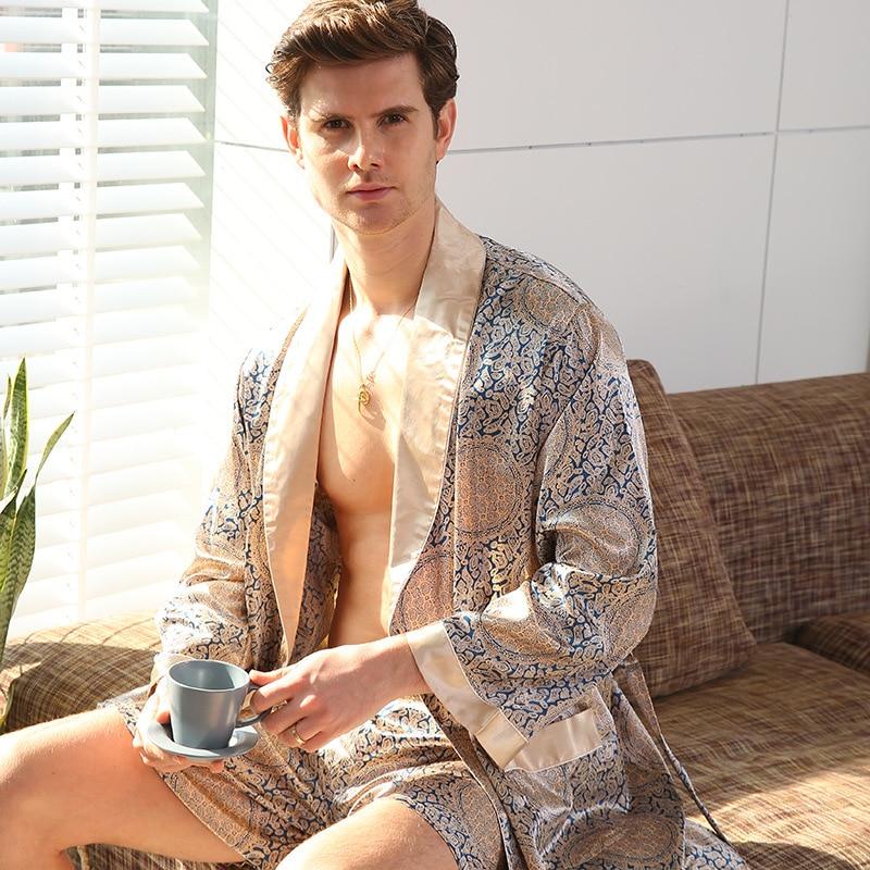 Two-Piece Home Silk Robe Pants Pajama Set or Bathrobe Shorts Sets 7XL-M Long Sleeve Sleepwear for Men Kimono Soft Cozy Bath Gown
