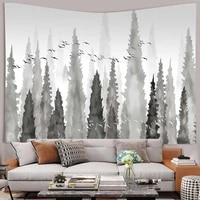 simsant grey nature mountains tapestry misty forest art wall hanging tapestries for living room home dorm decor
