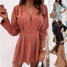 Automne hiver col en v bouton à manches longues robe pour les femmes solide couleur élégante robe de mode