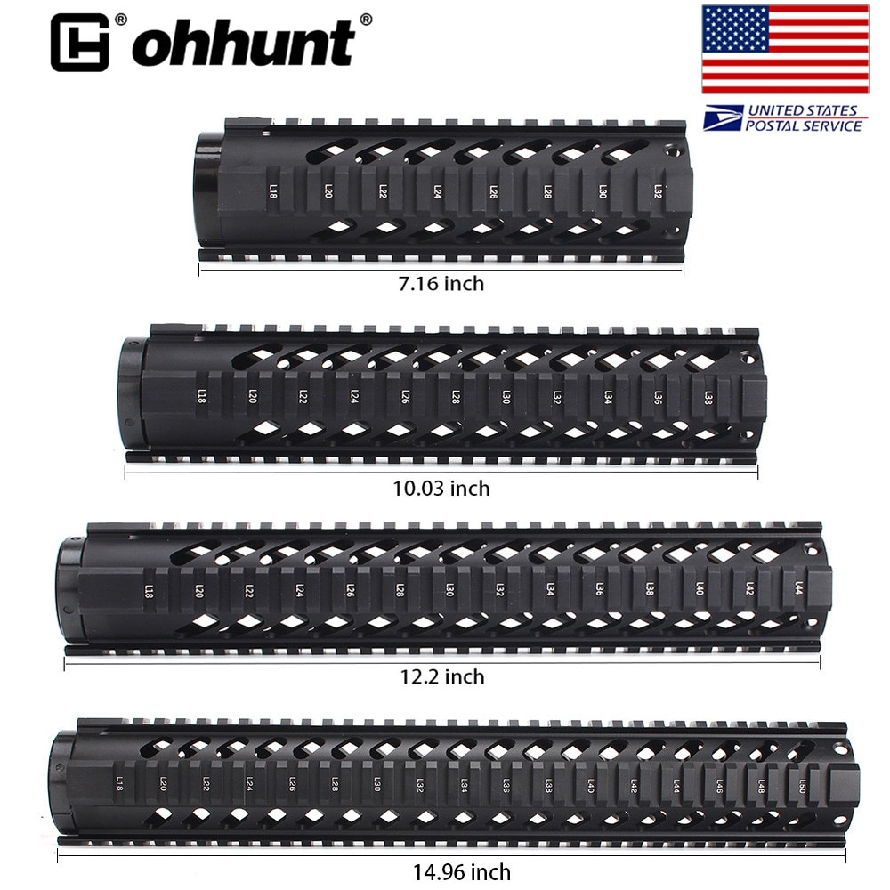 vector optics 12 inch ras free float handguard quad picatinny rail onepiece 223 5 56 extended carbine length a2 style SHIP FROM USA Ohhunt Tactical 7 10 12 15 Free Float Quad Picatinny Rail Handguard On .223 5.56 AR15 M16 Rifles