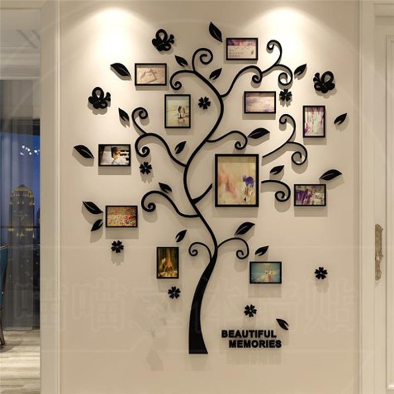 3D Family Tree Wall Sticker Acrylic Photo tree Home Decor Wall Poster Decal Sticker Mirror photo wall wallpaper kid room decor