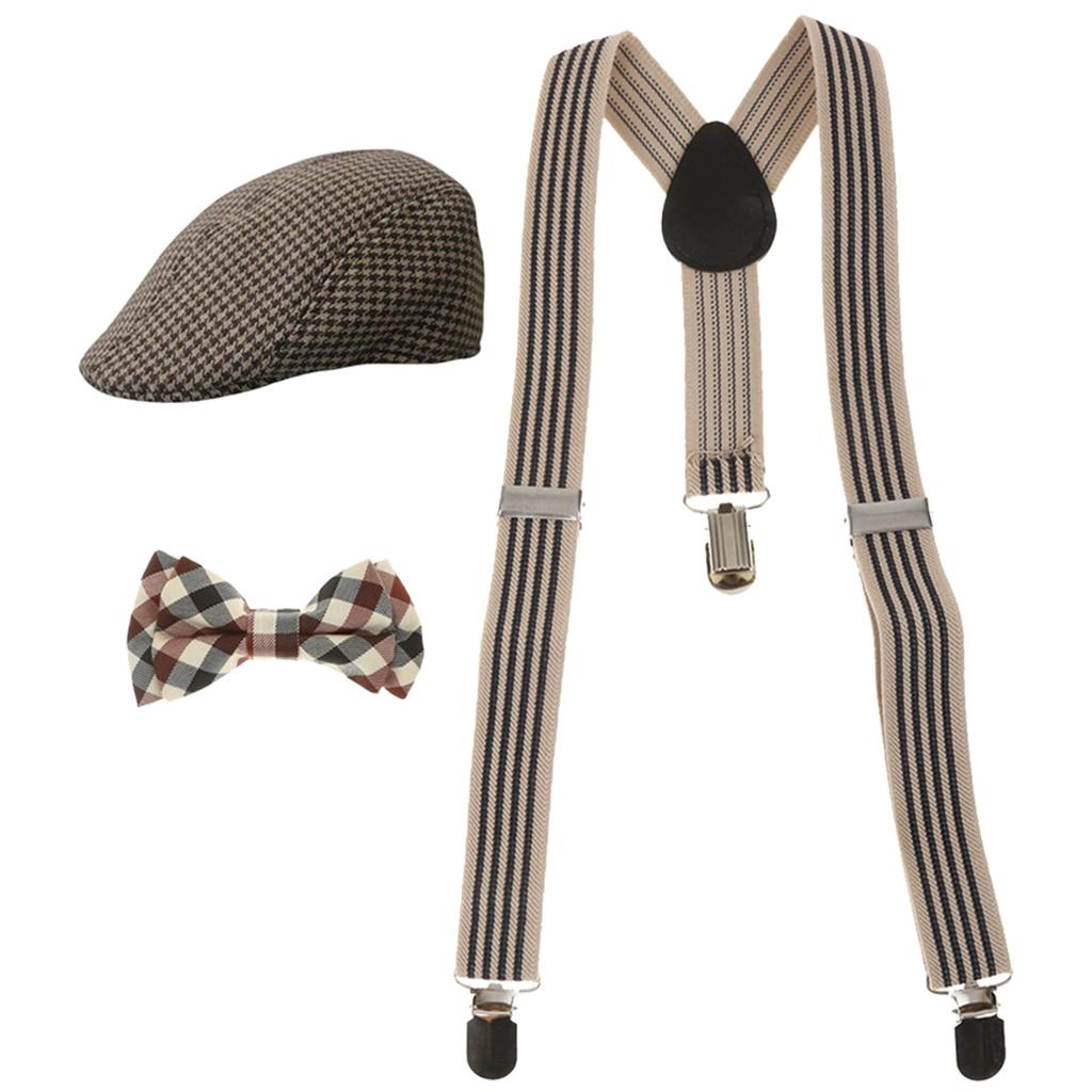 Fashion Kids Boys Stretchble Y-back Suspender Bowtie and Beret Cap Flat Hat Set