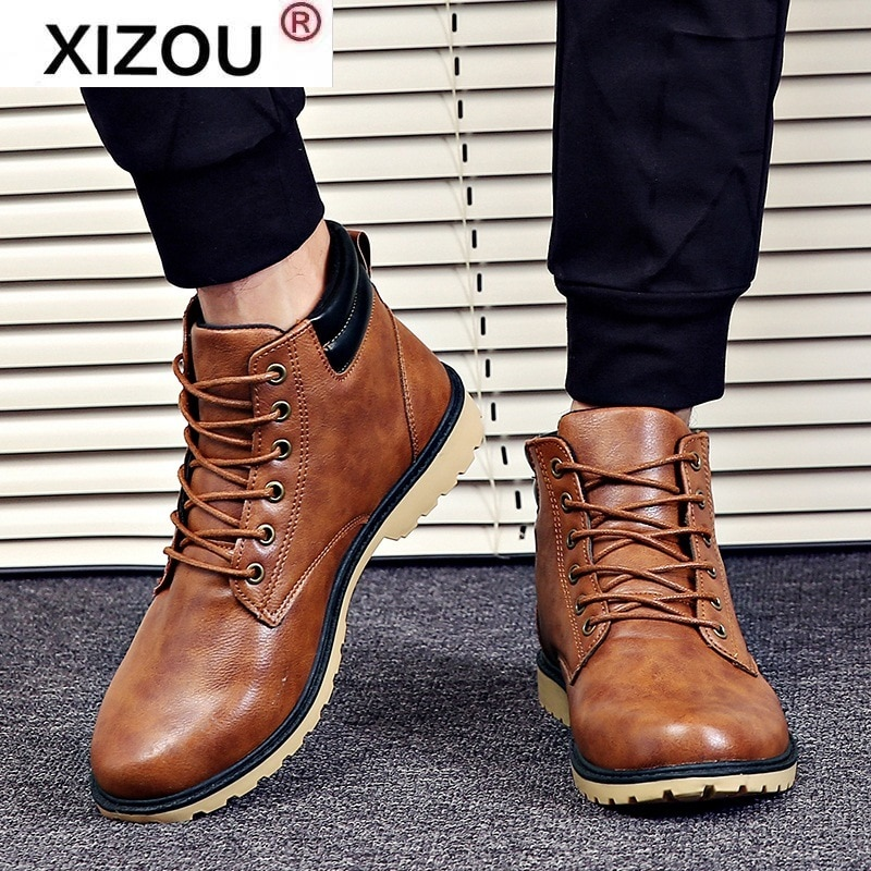 New Leather Boots Men Winter Spring Vintage Motorcycle Boots Male Snow Ankle High Top Men's Boots Casual Shoes for Men