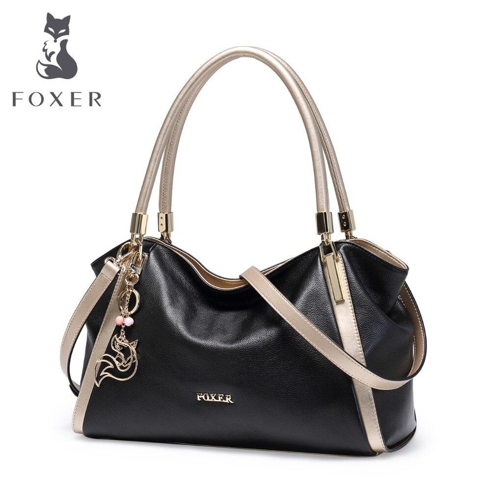 Foxer design da marca feminina bolsas de couro genuíno macio alta qualidade do sexo feminino grande tamanho bolsa ombro moda tote