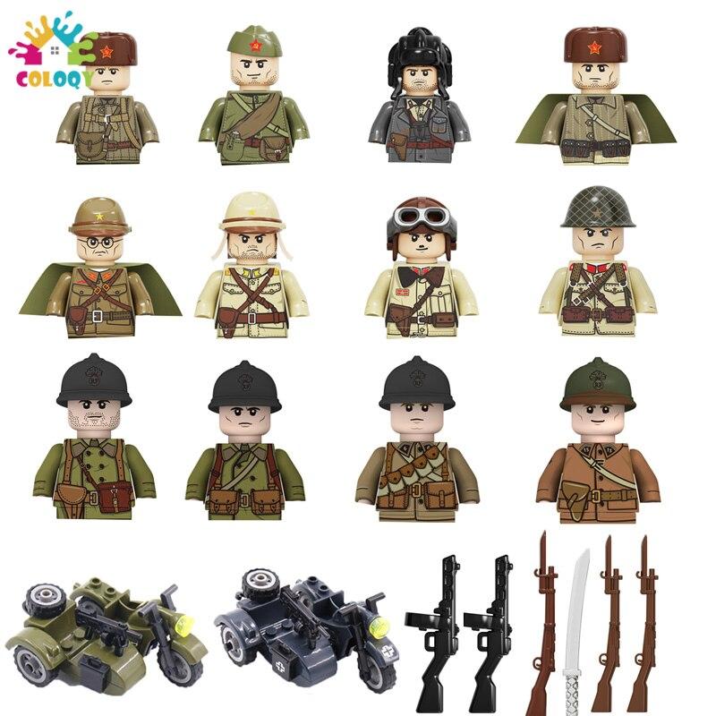 Детские игрушки, 2 мировая война, военные фигурки, строительные блоки, США, Франция, солдаты, мотоцикл, кирпичи, обучающие игрушки для детей в ...