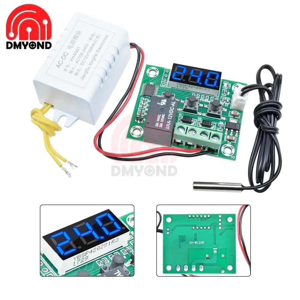 Ac 110 v-220 v w1209 termostato azul XH-W1209 led digital temperatura controllear para incubadora underfloor aquecimento sensor medidor