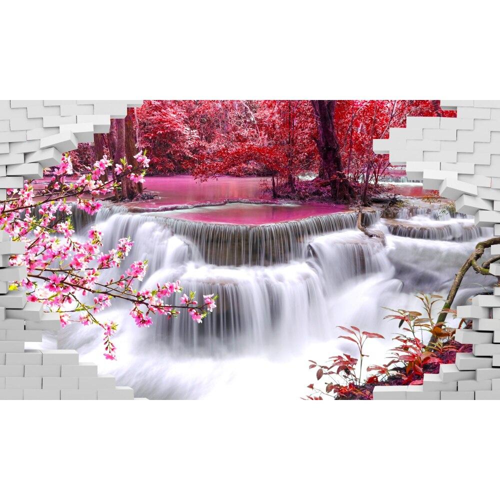 Фотообои 3d на стену, обои на заказ розовый водопад, 3D фотообои, декор стен, для гостиной, кухни, спальни