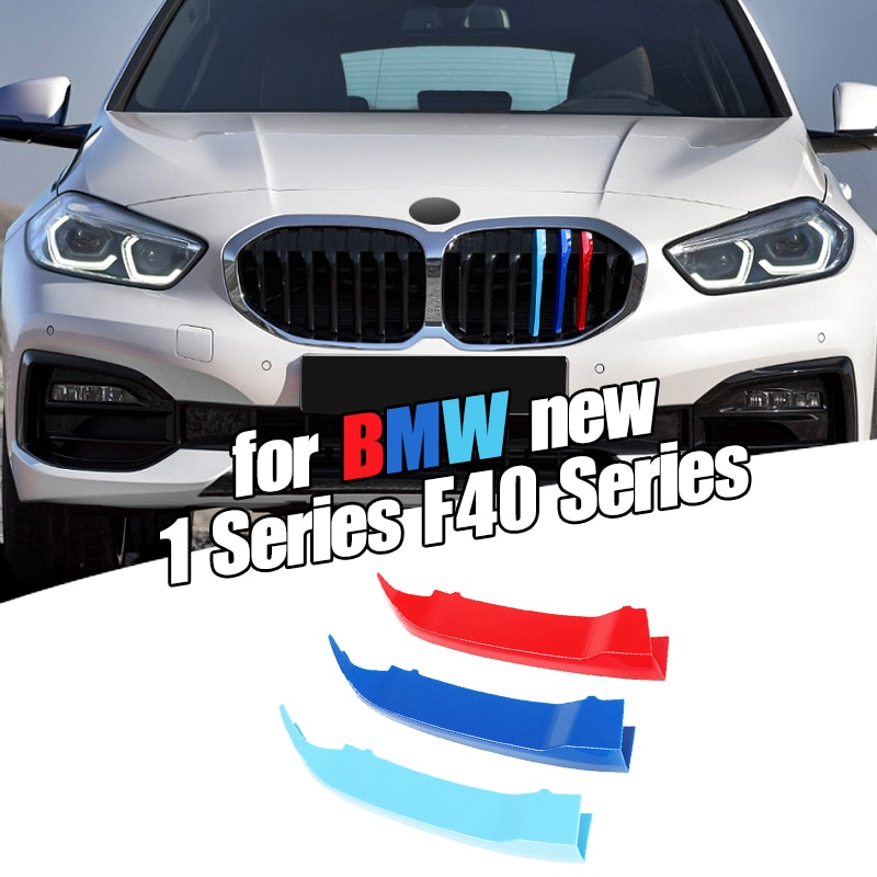 Dropship 3 uds Car 3D M Styling embellecedor de rejilla delantera parachoques cubierta tira tiras pegatinas cubierta para BMW 1 serie F40 2020