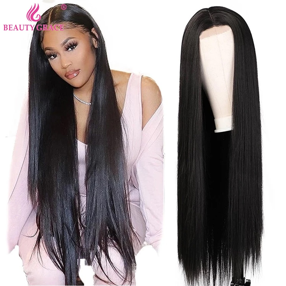 Beauty Grace 4X4 Lace Closure Wig 30 Inch Wigs For Women Human Hair Lace Front Wig Long Straight Lace Frontal Wig Brazilian Remy
