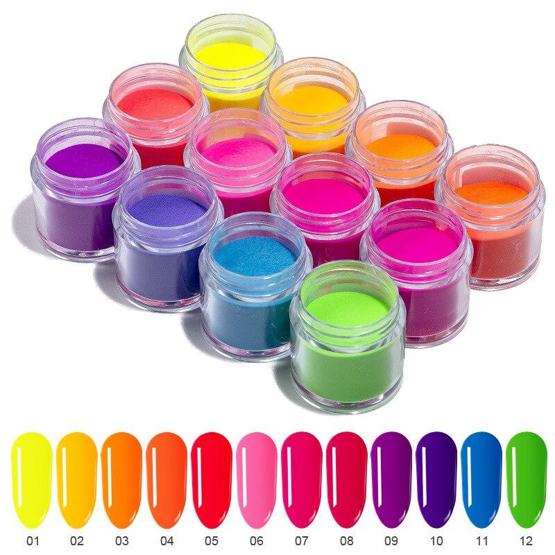 12cores neon construtor de unhas fluorescente acrílico, pó de mergulho, pigmento luminoso, 10ml/premium dip pó-ed154-fluorescente