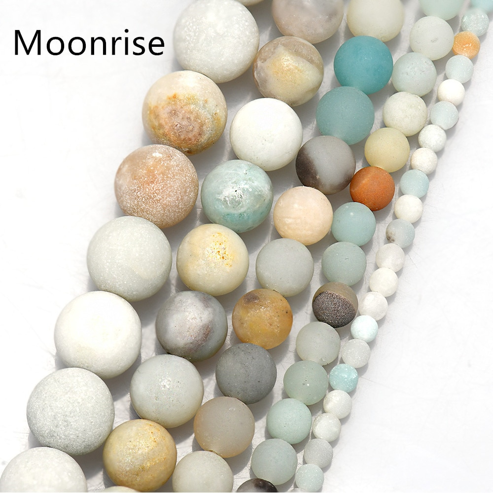 Natural unpolished fosco amazonite redonda 4 6 8 10 12mm gemstone joias que faz contas findinds suprimentos hk077