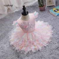 lace flower dress for girls flying sleeve tutu princess dress 0 4 years birthday party children clothing embroidery wedding gown