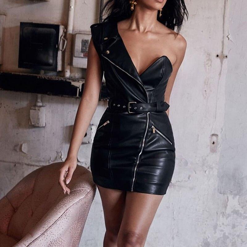 Vestido de mujer de cintura alta de cuero sintético negro con cinturón de un hombro Mini Vestidos de tubo para damas 2020 Sexy Bodycon Vestidos femeninos