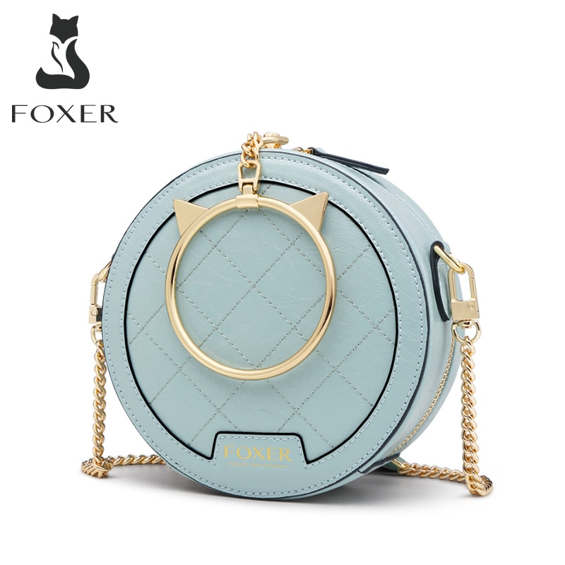 FOXER-حقيبة يد جلدية صغيرة مستديرة للنساء ، حقيبة كتف صغيرة أنيقة ، حقيبة يد أنيقة ، حقيبة ساعي