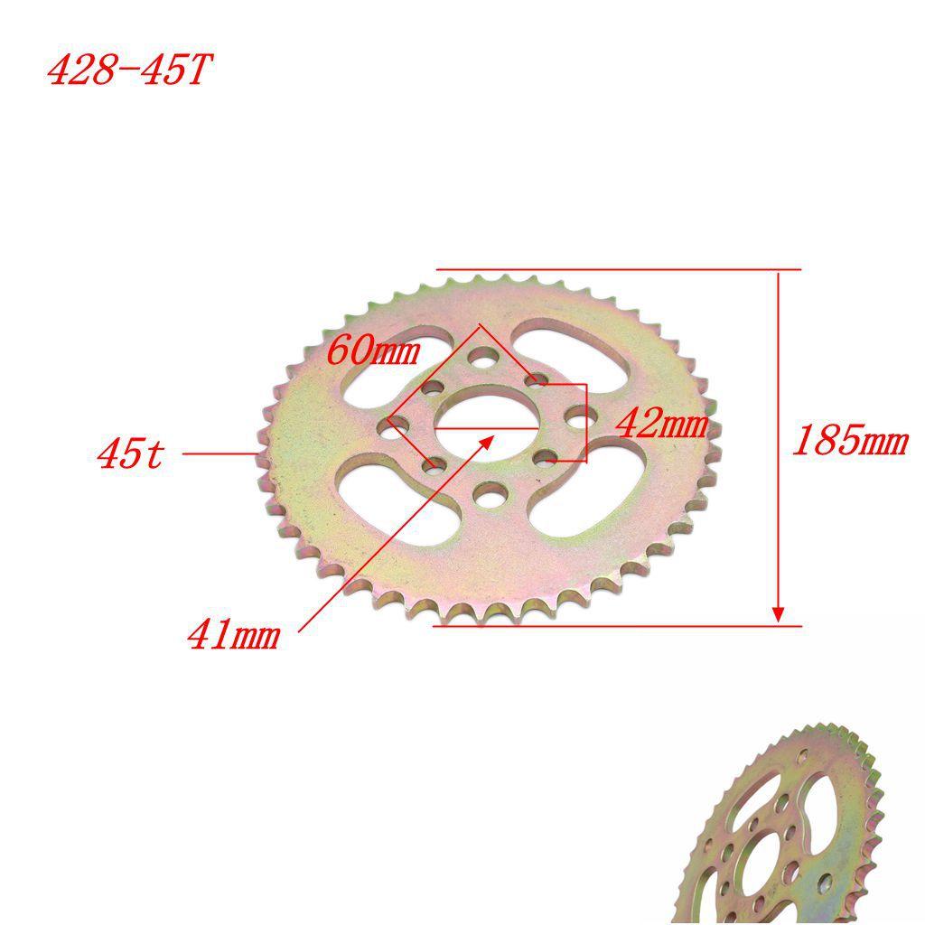 Piñón de la motocicleta 428 45T diente 41mm para Taotao 200CC 250CC 300CC ATV Quad Parts