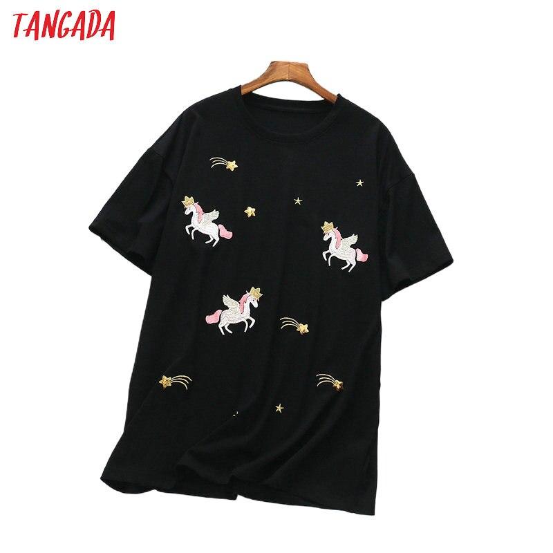Tangada women sweet horse embroidery T shirt short sleeve long shirt loose ladies casual tee shirt street wear top XLJ35