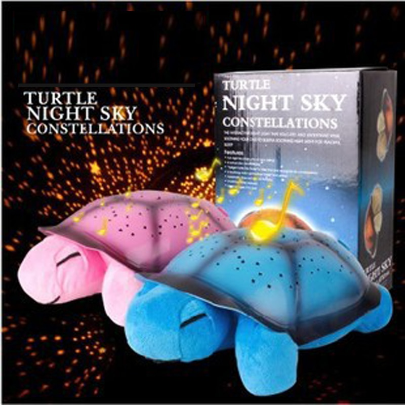 Tortoise Starry Sky Projector Lamp With Music Star Night Light Plush Toys Galaxy Star Projector Light Kids Gifts