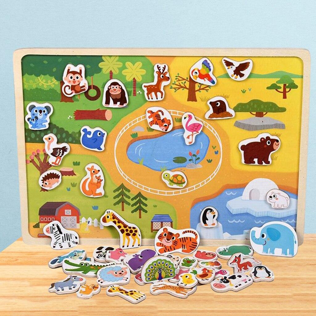 Деревянные Обучающие головоломки Монтессори, игрушки, животные, головоломки для дошкольников