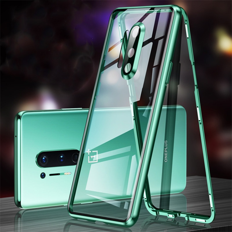 Caso para oneplus 8 pro clear vidro temperado metal de alumínio magnético capa para oneplus 8 um plus 8 pro casos duros