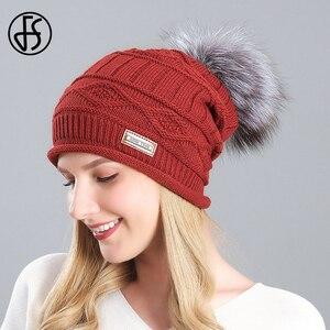 FS 2020 Winter Warm Ear Protection Knitted Hat Real Raccoon Fur Pompom Beanie Hats For Women Female Ski Skullies Beanies