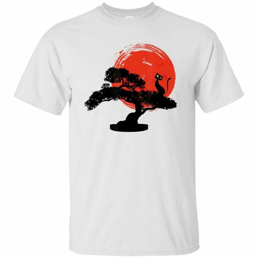 Бонсай дерево забавный кот солнце азиатское японское искусство черная футболка