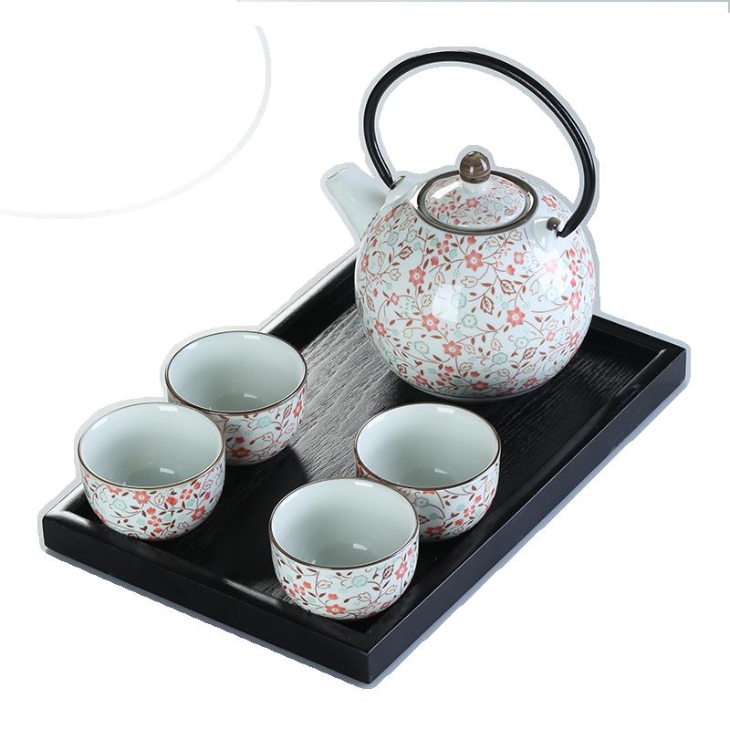 حلقة التعامل مع إبريق الشاي طقم شاي مجموعة كاملة 700 مللي إبريق الشاي وعاء صغير كوب الخزف غلاية مطعم طقم شاي