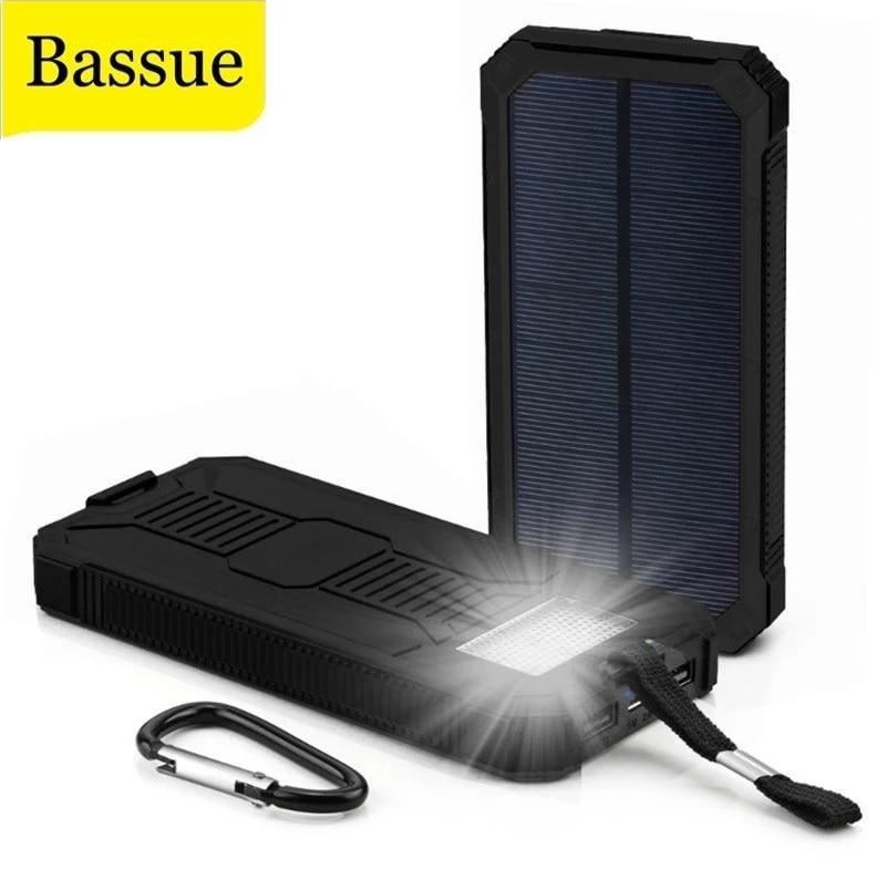 For All Phone Iphone Huawei Xiaomi Huge Capacity Solar Power Bank 80000mAh Dual-USB Waterproof Solar Power Bank Battery Charger