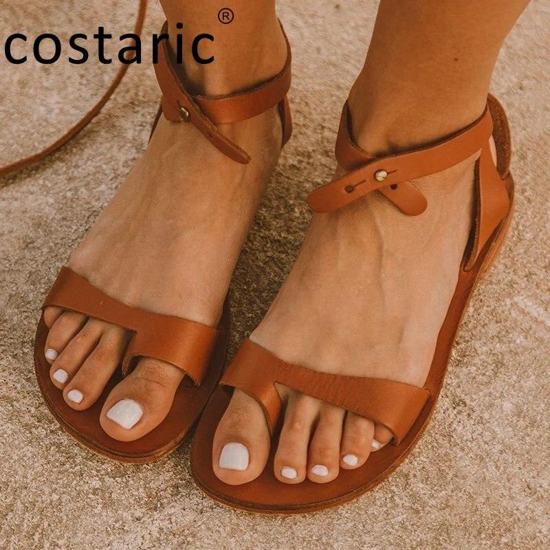 Size 35-43 PU Flip Flop Sandals Solid Color Fashion Gladiator Women Shoes Retro Peep Toe Sandal Flat Vintage Set Toe Sandals