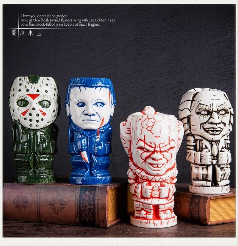 Película de terror personaje Jason mató a Bill Edward tijera VI miedo de cerámica de copa Tiki regalo de dama de honor