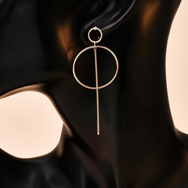 Pendientes nuevos de moda, joyería elegante con círculo geométrico redondo, pendientes de aro con doble agujero, pendientes de tuerca para mujer