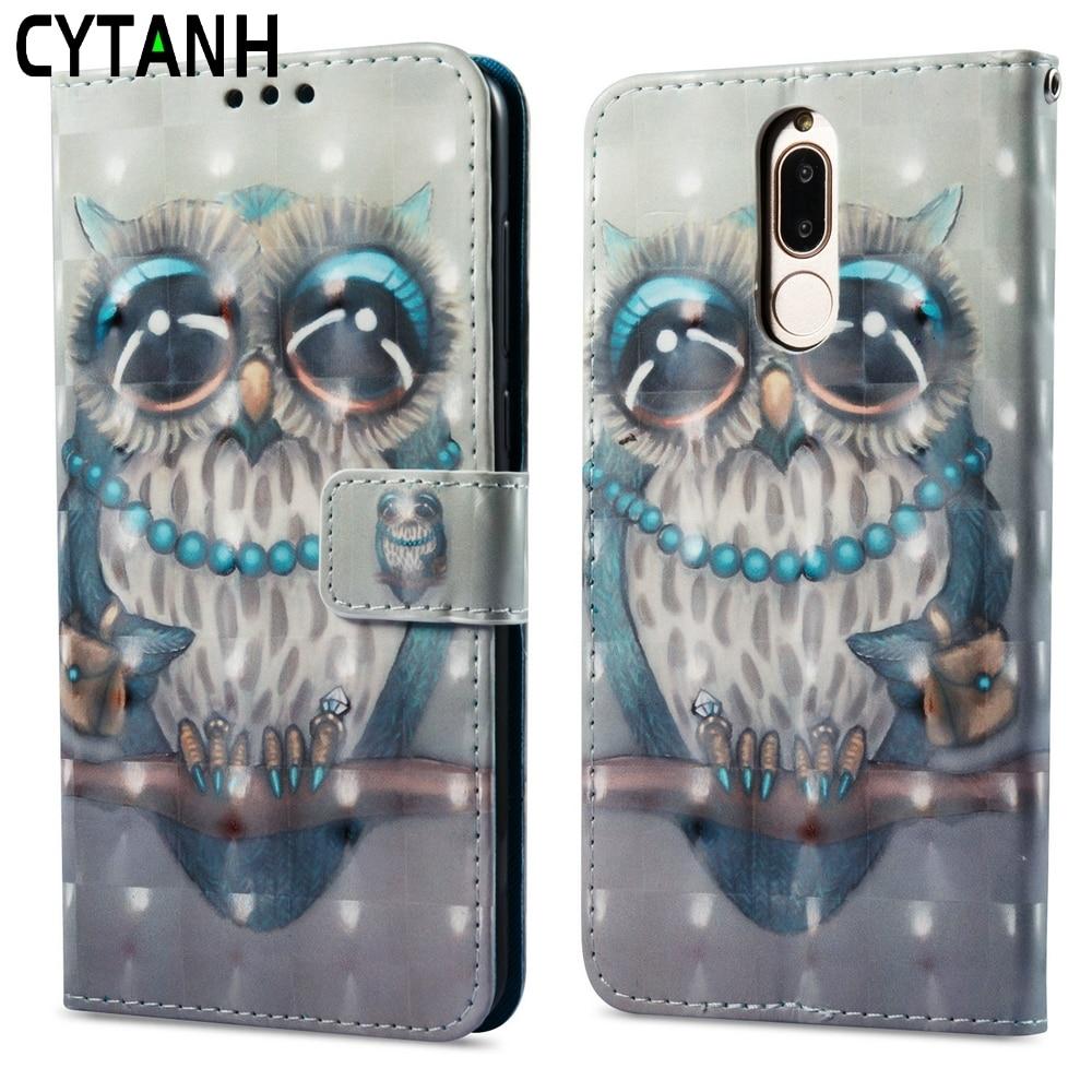 Funda abatible para Huawei Honor 9i 5,9 de lujo gris búho estilo billetera Funda de cuero PU Honor 9i Honor9i RNE-L23 RNE-L01