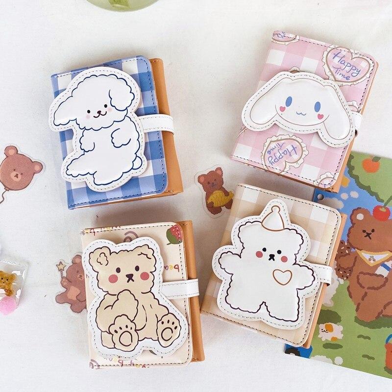 Carteira de couro bonito das mulheres ferrolho pequenas carteiras plutônio xadrez urso coelho forma titular do cartão das senhoras da forma estudantes lolita curto bolsa