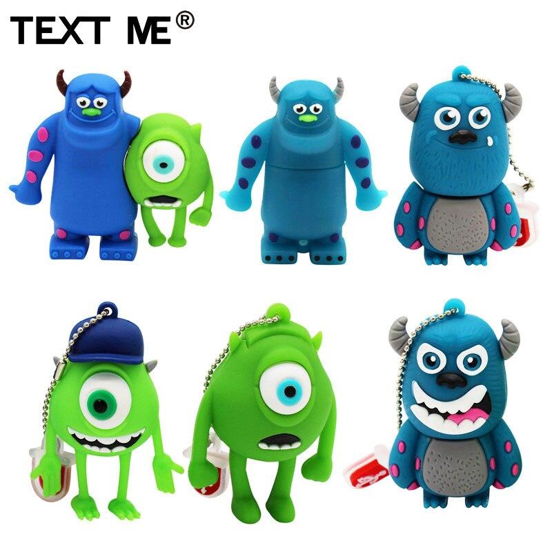 Texto de dibujos animados lindo 3 color Monster University usb flash drive usb 2,0 de 1 GB 2GB 4GB 8GB 16GB 32GB 64GB pendrive mejor regalo