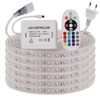 Гибкая светодиодная лента 220 RGB высокой яркости, водонепроницаемая уличная декоративная лампа с дистанционным управлением IP67, 5050 в