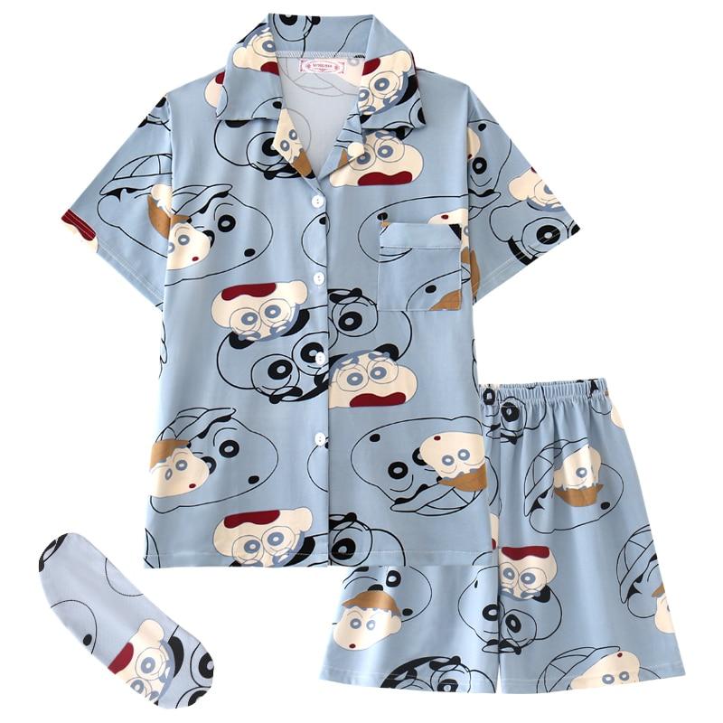 Women Pajamas Set Summer 2 Pieces Pijama Suits With Shorts Eyepatch Sleepwear Japan Anime Room Wear
