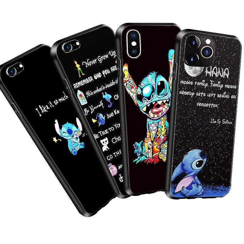 Funda de teléfono de silicona blanda para iPhone 11 Pro X 5 S 5S XR XS Max 6 6S 7 8 Plus, Funda Lilo Stitch Ohana, Funda de móvil