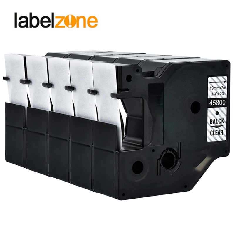 Preto em Limpar Fitas de Etiquetas Lote 45800 d1 Dymo Etiquetas Compatíveis 5 Pçs – 19mm