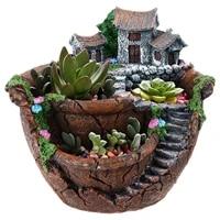 Jardiniere de jardin feerique  Pots de plantes de fleurs avec maison douce  Design Unique pour la decoration de la maison