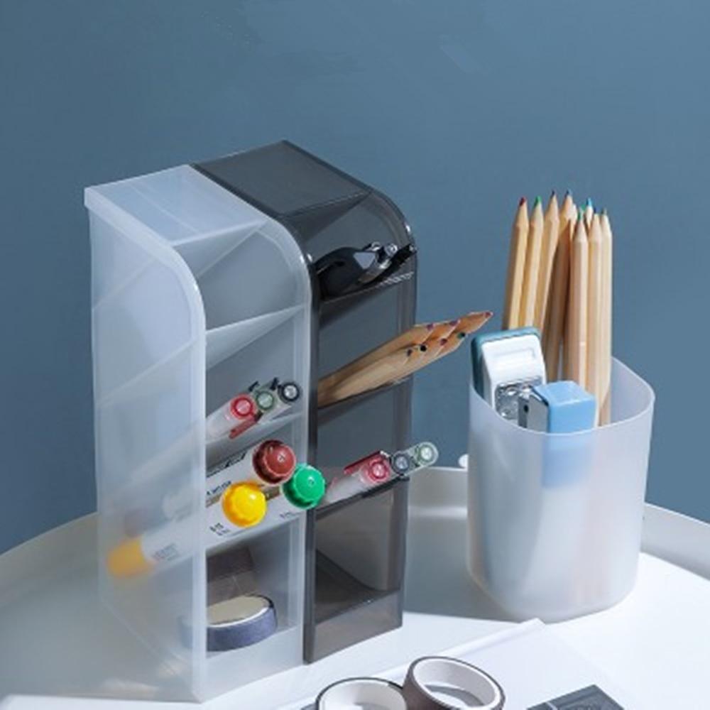 Multi-function 4-Grid Desktop Pen Holder Office School Storage Case Plastic Pen Box Desk Pencil Organizer Clear White Black