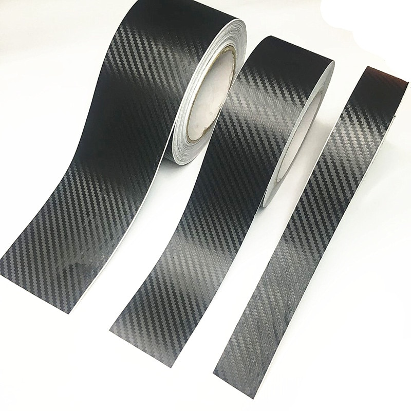 3D Carbon Fiber Car Sticker DIY Paste Protector Strip Auto Door Sill Side Mirror Anti Scratch Tape Waterproof Protection Film