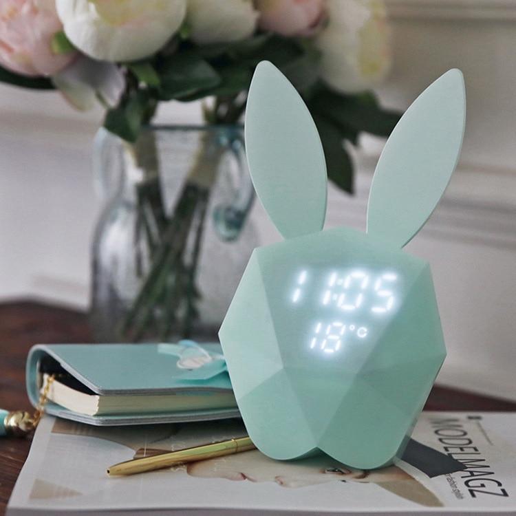Reloj despertador con viñetas de animales para habitación de niños, reloj despertador con conejo rosa para niños, reloj electrónico para amanecer CC50NZ