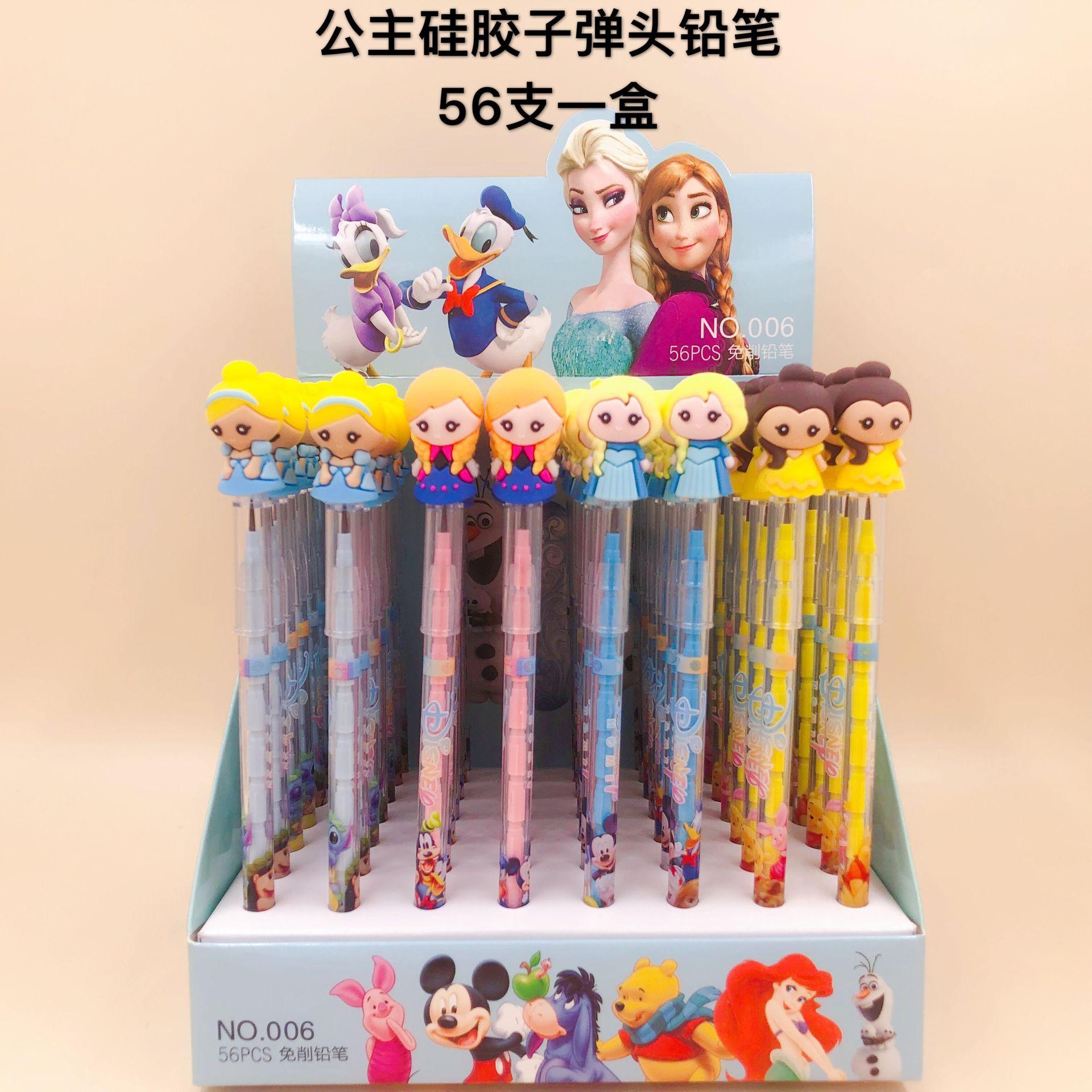 56pcs Disney Frozen Cute Cartoon Pencil Princess Bullet Pencil Pencil Boys and Girls Writing Painting School Office Gift Prize
