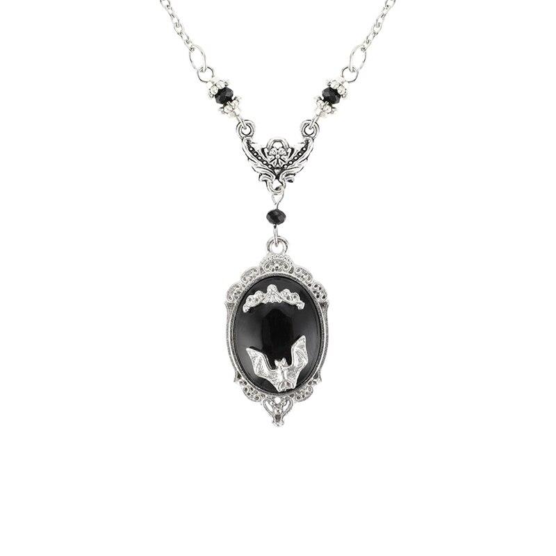 Готика, вампир, летучая мышь ожерелье, ожерелье с ведьмой, Хэллоуин рок, готический, викторианской эпохи серебро в рамке летучая мышь камея ожерелье, подарок для любителей летучей мыши